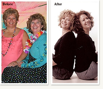 Karen and Kathy before and after losing 50 pounds